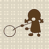 Vector clipart: Little girl playing with circle