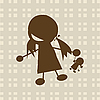 Vector clipart: Little girl playing with doll