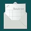 Vector clipart: Open envelope with sheet for logo and sample text