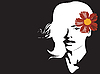 Vector clipart: Portrait of beautiful girl with flower
