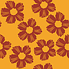 Vector clipart: red flowers pattern on orange background