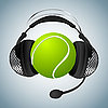 Vektor Cliparts: Tennis-Ball mit Kopfhörern