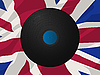 Vector clipart: Vintage vinyl disk and Union Jack