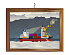 Vector clipart: Ship in the storm