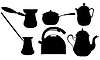 Vector clipart: Coffee and tea silhouettes