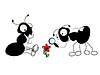 Vector clipart: Two ants and flower