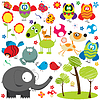 Vector clipart: natural cartoon design elements