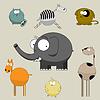 Векторный клипарт: Слон и кот