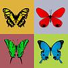 Vector clipart: Four butterflies