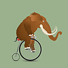 Photo 300 DPI: Mammoth  on bicycle