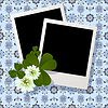 Vector clipart: Clover leaf and flowers design