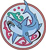 Vector clipart: shark round design