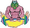 Vector clipart: weights monster template