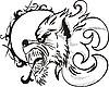 Векторный клипарт: тату собака под луной