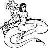 Vector clipart: woman with fan on the serpent