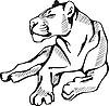 liegend Löwin