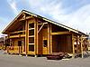 Фото 300 DPI: каркас деревянного дома на выставке