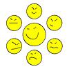 Vector clipart: Yellow Asian smiles