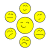 Vector clipart: Yellow chat smiles
