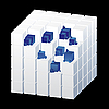 Vector clipart: white cube with blue parts