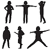 Vector clipart: little girl silhouettes