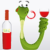 Vector clipart: snake with wine