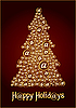 Vector clipart: golden Сhristmas tree - happy holidays