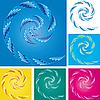 Vector clipart: color spirals