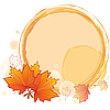Vector clipart: autumn round frame with maple leaves