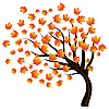Vector clipart: autumn maple tree on wind