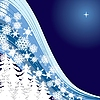 Vector clipart: blue Christmas card mit firtrees and snowflakes