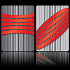 Vector clipart: gray and red business card templates with stripes
