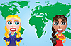 Vector clipart: girls and map of the world