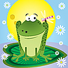 Vector clipart: cartoon frog and dragonfly