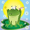 Векторный клипарт: мультяшная лягушка и стрекоза