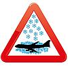 Векторный клипарт: осторожно снег и самолет