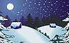Vector clipart: christmas rural night landscape
