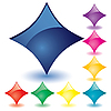 Vector clipart: colored rhomb buttons