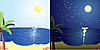 Векторный клипарт: день и ночь на море