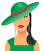 Vector clipart: lady with green hat