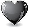 闪闪发光的黑色心脏 | 向量插图