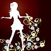 Vector clipart: gold spring girl