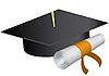 Graduation-Kappe und Diplom