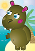 Vector clipart: hippo cartoon