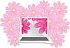 Векторный клипарт: ноутбук в цветах