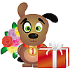 Vector clipart: puppy with gifts
