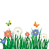 Vector clipart: Flowers, grass and butterflies