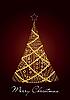 Векторный клипарт: рождественская елка из золотых шаров