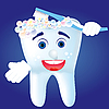 Vector clipart: Tooth with toothbrush