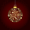 Vector clipart: Christmas decorations and golden snowflakes